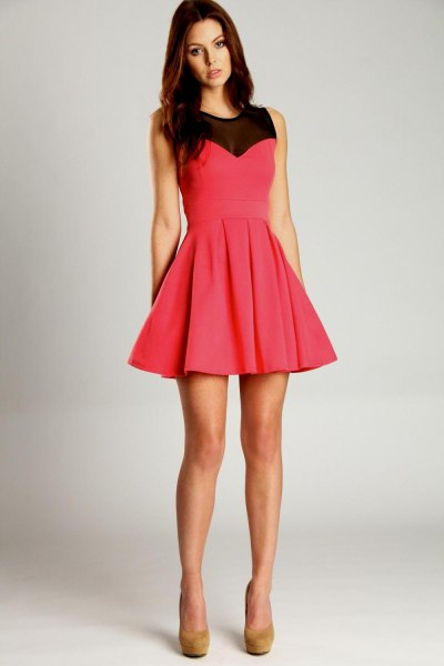 pink and black semi sheer mini skater dress