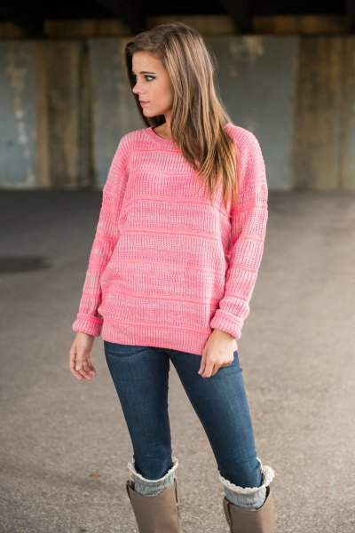 pink knit sweater with grey suede knee high boots