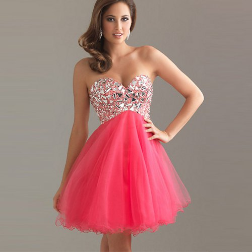 pink sweetheart neckline tutu mini dress