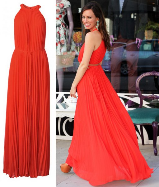 pleated gathered waist flared maxi dress