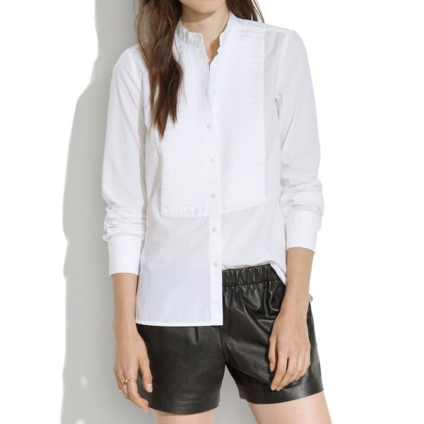 pleated mock neck button up blouse with black leather shorts