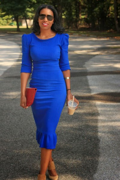 puff shoulder half sleeve cobalt blue midi dress