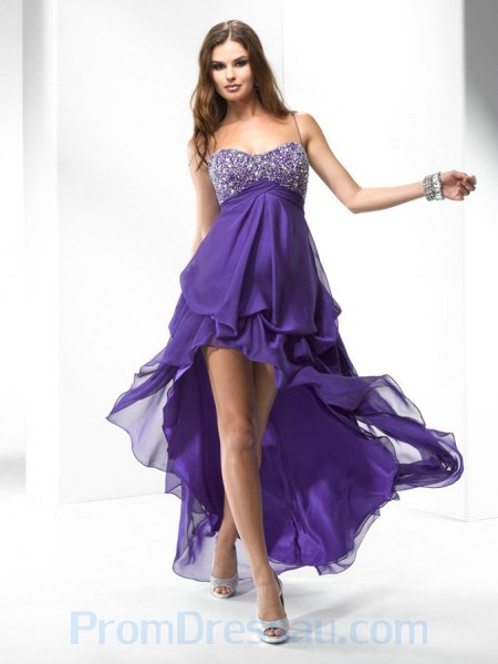 purple and silver sequin spaghetti strap high low long flared dress