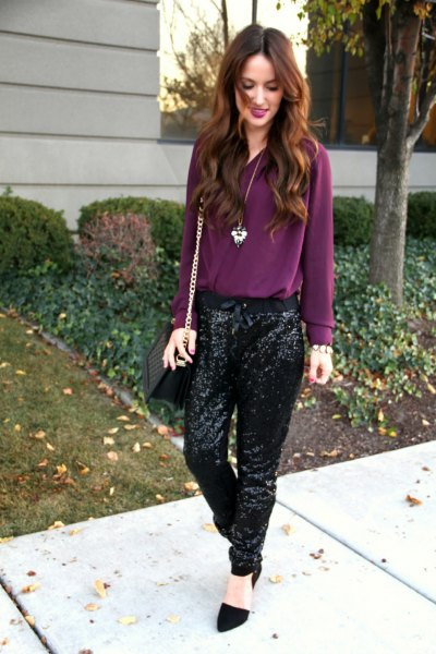 purple chiffon blouse with black sequin jeans
