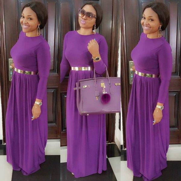 purple dress with silver metallic belt