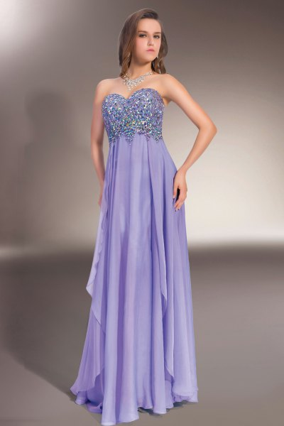 purple empire waist sweetheart maxi chiffon dress
