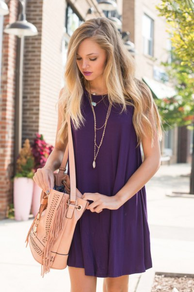 purple halter neck mini shift sundress