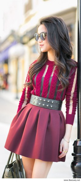 purple semi sheer mini pleated dress with wide black studded belt