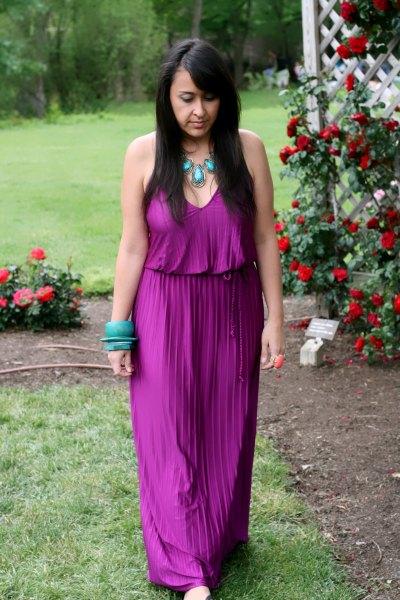 purple v neck sleeveless gathered waist maxi pleated dress