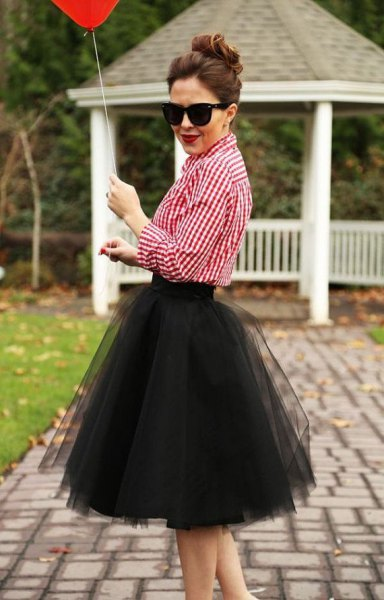 red and white checkered shirt with black midi tutu skirt