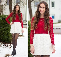 red long sleeve form fitting lace top with white high waisted mini skirt