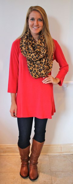 red long sleeve tunic with leopard print scarf