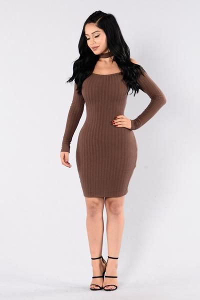 ribbed brown form fitting mini sweater dress