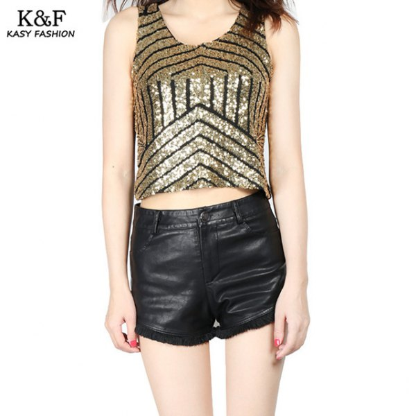 rose gold and black striped sequin cropped tank top with leather shorts