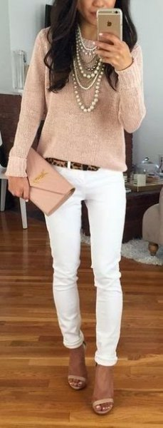 rose gold long sleeve top with skinny jeans