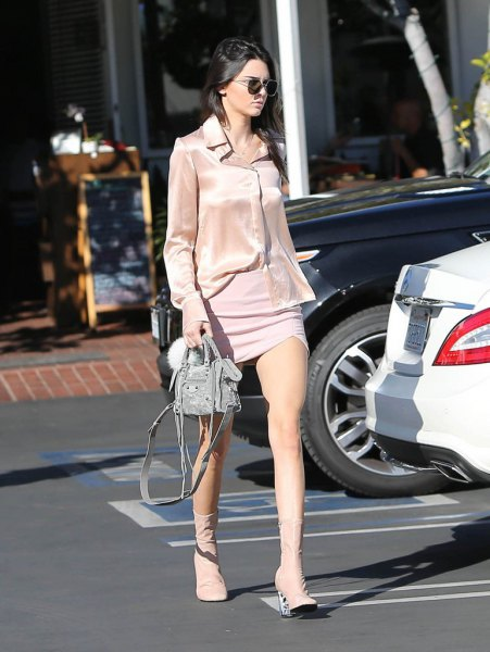 rose gold silk shirt with pale blue mini shift dress