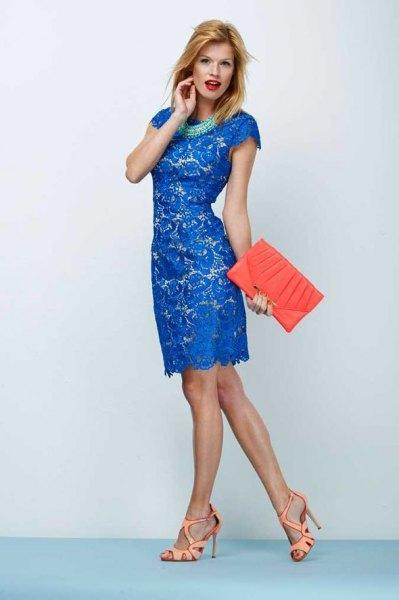 royal blue cap sleeve knee length lace dress
