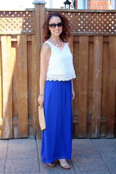 scalloped hem lace vest top with blue skirt