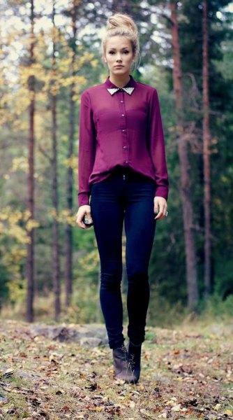 semi sheer collar chiffon shirt with dark blue skinny jeans