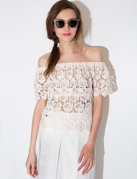 semi sheer lace top with wide leg white linen pants