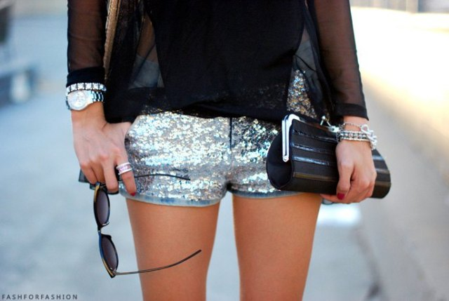 sequin mini shorts with black chiffon semi sheer blouse