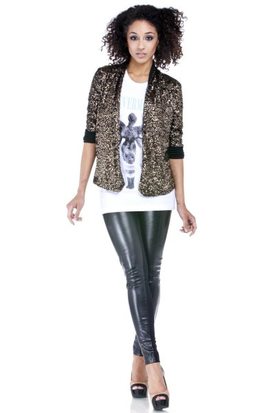 sequin short jacket with white print tee and leather leggings