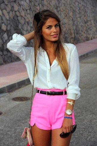 shocking pink mini shorts with white button up shirt