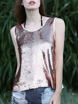 silver scoop neck sequin tank top with heavily ripped jeans