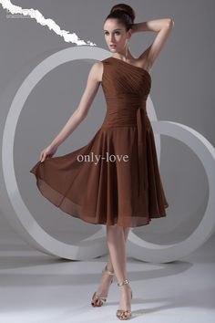 single strap one shoulder chiffon bridesmaid dress