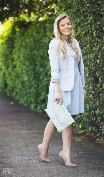 sky blue knee length pleated dress with light blue blazer