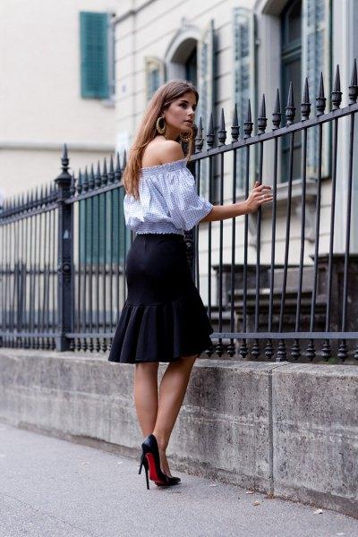sky blue off the shoulder half sleeve blouse with black knee length skirt