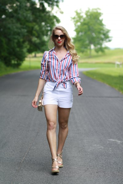 striped knotted button up shirt with white high waisted shorts