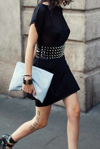 studded wide belt with black t shirt dress
