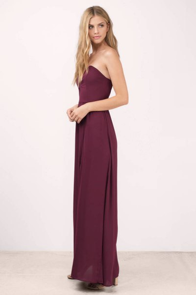 sweetheart neckline purple floor length dress