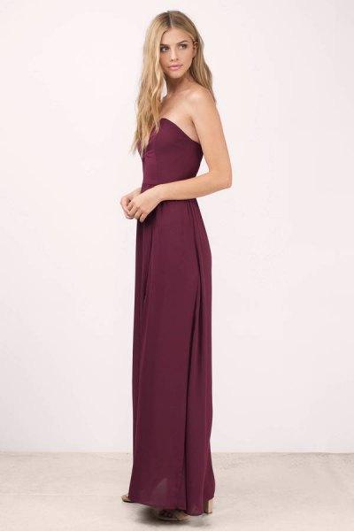 sweetheart neckline purple floor length dress