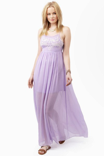 two layered fit and flare lavender maxi chiffon dress
