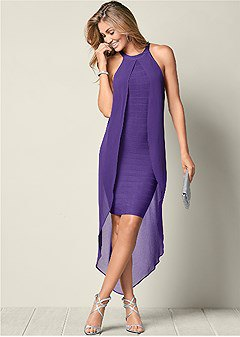 two layered purple maxi shift chiffon dress