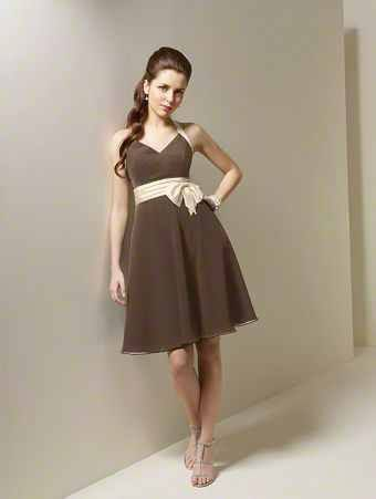 v neck fit and flare knee length chiffon bridesmaid dress
