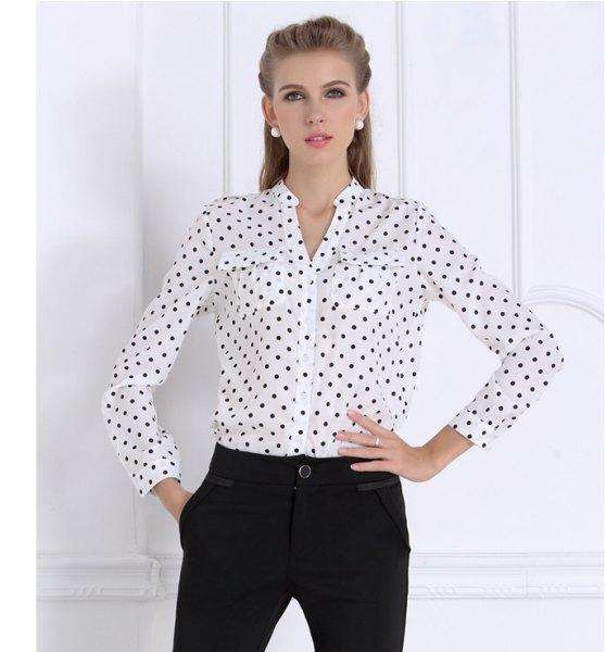 white and black polka dot no collar dress shirt with chinos