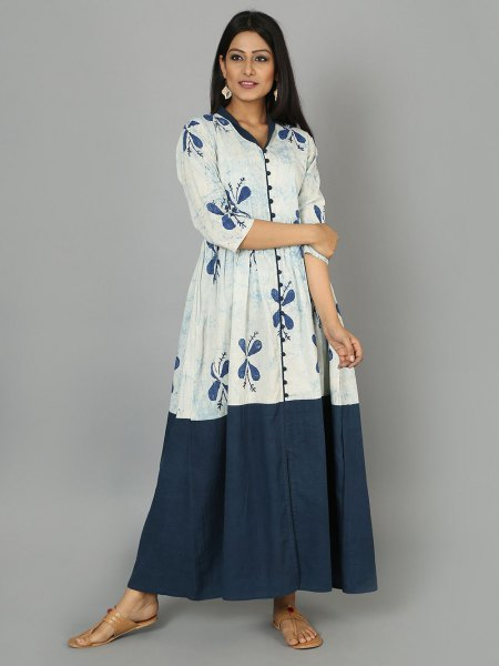 white and blue three quarter sleeve flared maxi dress