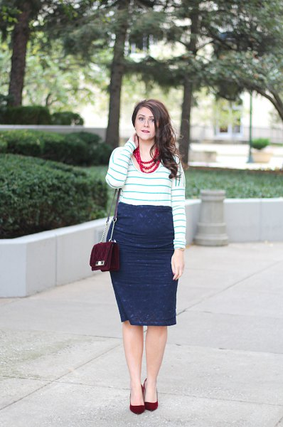 white and grey striped sweater with navy lace midi wrap skirt