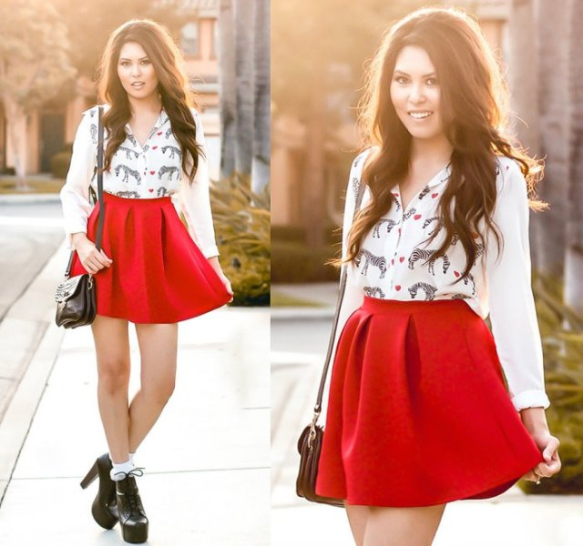 white animal printed blouse with high waisted red skater skirt
