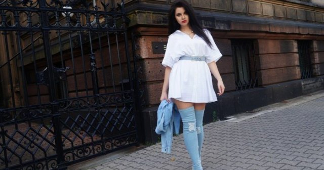 white belted mini flared shirt dress with denim thigh high boots