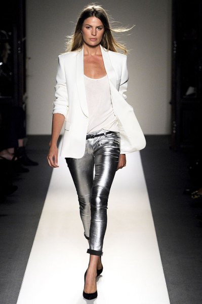 white blazer with silver metallic skinny pants