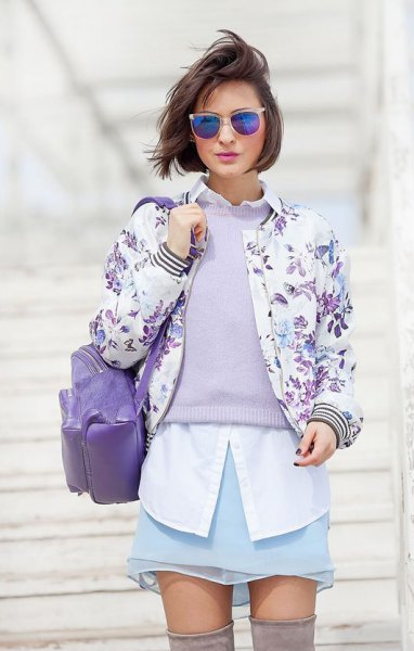 white button up shirt and floral printed bomber jacket