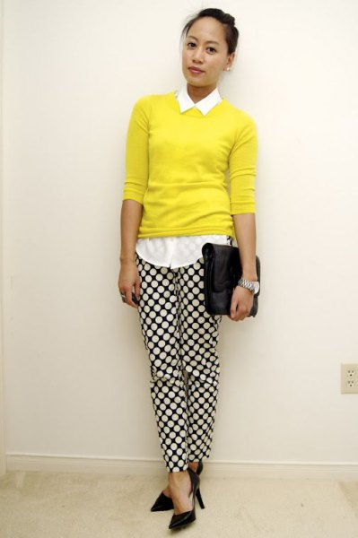 white button up shirt with yellow sweater and checkered pants