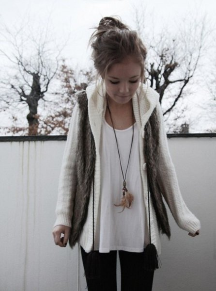 white cable knit sweater coat with scoop neck tee