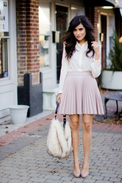 white chiffon button up shirt with pale pink mini skater pleated skirt