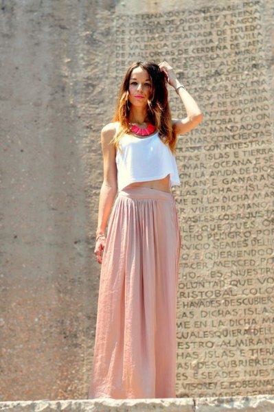 white cropped vest top with blush pink linen maxi skirt