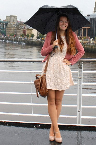 white fit and flare mini dress with blush pink cardigan